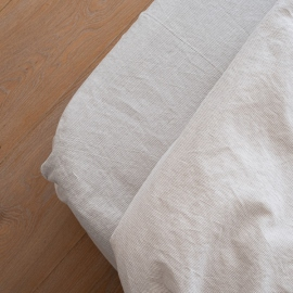 Natural Washed Bed Linen Pinstripe Fitted Sheet Deep Pocket
