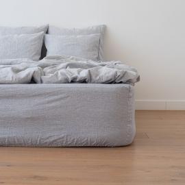 Indigo Washed Bed Linen Pinstripe Fitted Sheet Deep Pocket