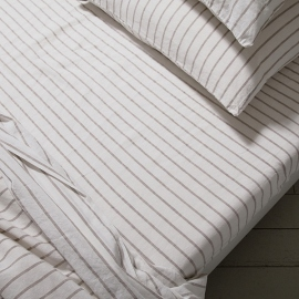 Natural Washed Bed Linen Stripe Fitted Sheet Deep Pocket