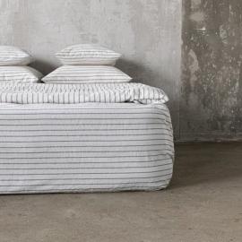Graphite Washed Bed Linen Stripe Fitted Sheet Deep Pocket