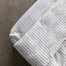 Graphite Washed Bed Linen Stripe Fitted Sheet Deep Pocket