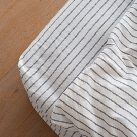 Indigo Washed Bed Linen Stripe Fitted Sheet Deep Pocket