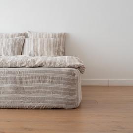 Natural Washed Bed Linen Jazz Fitted Sheet Deep Pocket