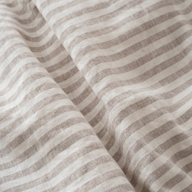 Natural Washed Bed Linen Deep Pocket Fitted Sheet Ticking Stripe