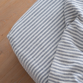 Indigo Washed Bed Linen Deep Pocket Fitted Sheet Ticking Stripe