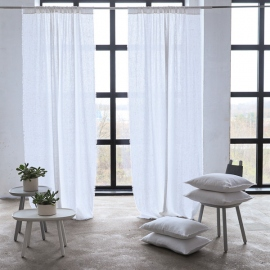 Linen Rod Pocket Curtain Panel Optical White Terra Fringe