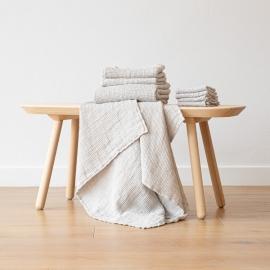 Linen Waffle Big Set of 4 Wash Cloth Set Silver