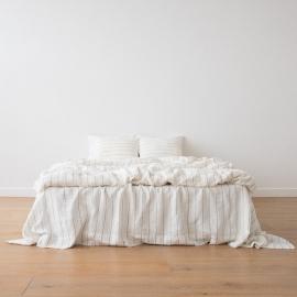 White Navy Large Stripe Washed Bed Linen Duvet