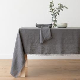 Graphite Linen Tablecloth Terra Fringe