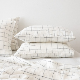 White Navy Window Pane Washed Bed Linen Pillow Case