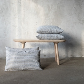 Linen Cushion Cover Indigo Natural Brittany
