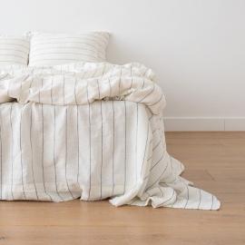 Large Stripe Linen Pillow Case White Navy