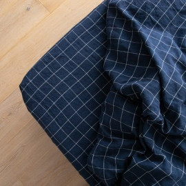 Navy White Window Pane Washed Bed Linen Fitted Sheet