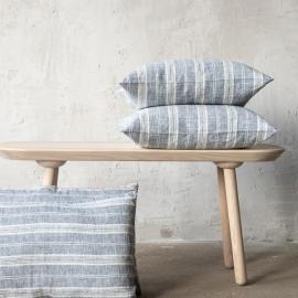 Linen Cushion Cover Indigo Multistripe