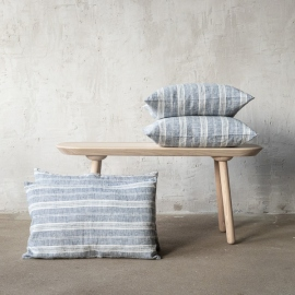 Linen Cushion Cover Indigo Multistripe