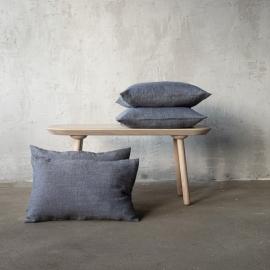 Linen Cushion Cover Indigo Natural Chevron