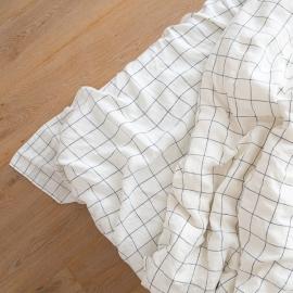 White Navy Window Pane Washed Bed Linen Flat Sheet