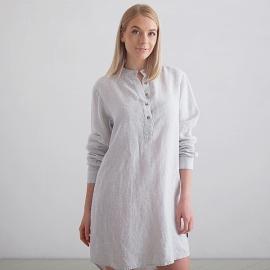Silver Stripe Linen Night Shirt Alma