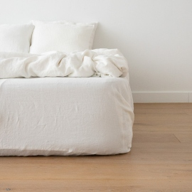 Off White Linen Deep Fitted Sheet Stone Washed