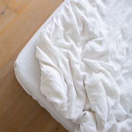 Optical White Linen Deep Fitted Sheet Stone Washed
