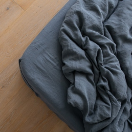 Blue Linen Deep Fitted Sheet Stone Washed