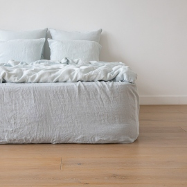 Ice Blue Linen Deep Fitted Sheet Stone Washed