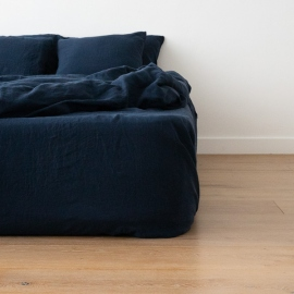 Navy Blue Linen Deep Fitted Sheet Stone Washed