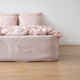 Rose Linen Deep Fitted Sheet Stone Washed