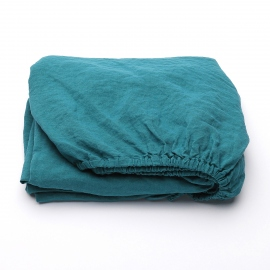 Sapphire Linen Deep Fitted Sheet Stone Washed