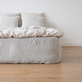 Silver Linen Deep Fitted Sheet Stone Washed