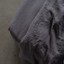 Steel Grey Linen Deep Fitted Sheet Stone Washed
