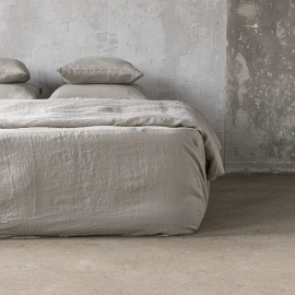 Taupe Linen Deep Fitted Sheet Stone Washed