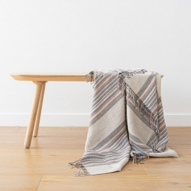 Natural Indigo Stripe Linen Throw Paolo