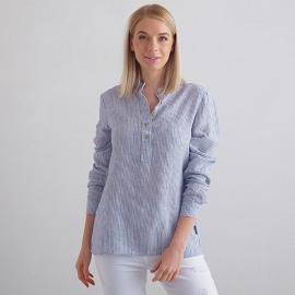 Navy Stripe Linen Shirt Toby
