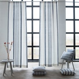 Linen Rod Pocket Curtain Panel Indigo Tuscany