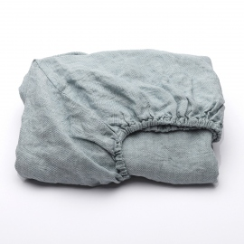 Stone Blue Linen Deep Fitted Sheet Stone Washed Rhomb