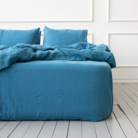 Sea Blue Linen Deep Fitted Sheet Stone Washed