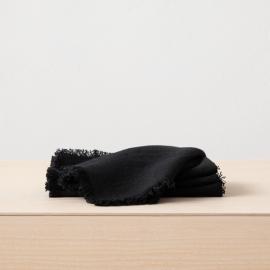 Linen Napkin Black Terra Fringe