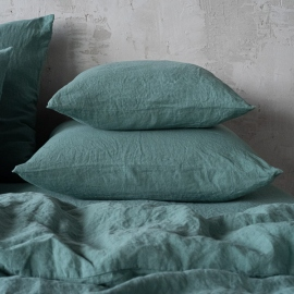 Moss Green Linen Pillow Case Stone Washed