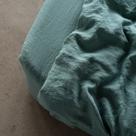 Moss Green Linen Fitted Sheet Stone Washed