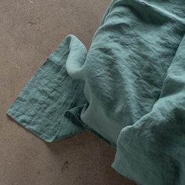 Moss Green Linen Flat Sheet Stone Washed