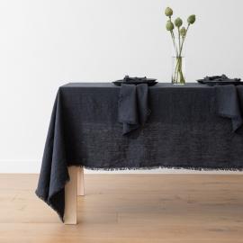 Linen Tablecloth Charcoal Terra Fringe