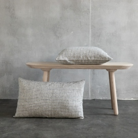Linen Cushion Cover Black Natural Brittany