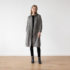 Black Chevron Linen Jacket Long Fabio