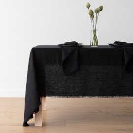 Linen Tablecloth Black Terra Fringe