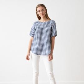 Blue White Check Linen Blouse Luisa