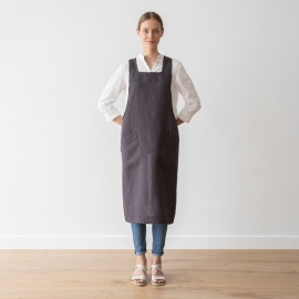 Stone Washed Linen Back Cross Apron Grey