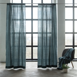 Linen Rod Pocket Curtain Panel Balsa, Green Stone Washed