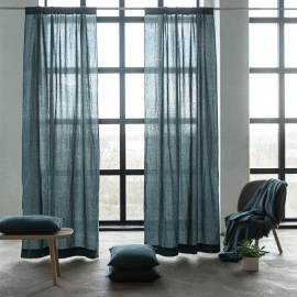 Linen Rod Pocket Curtain Panel Balsam Green Stone Washed