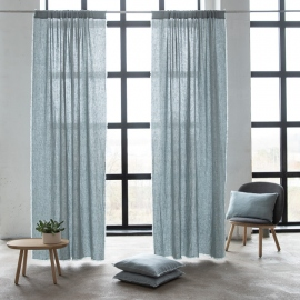 Linen Rod Pocket Curtain Panel Ice Blue Terra Fringe